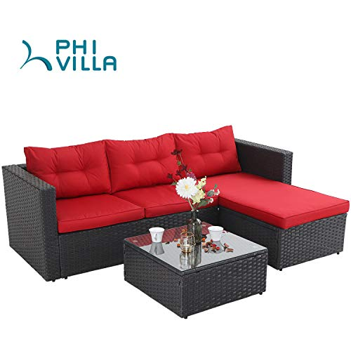 PHI VILLA Outdoor Rattan Sectional Sofa- Small Patio Wicker Furniture Set (3-Piece, Red)