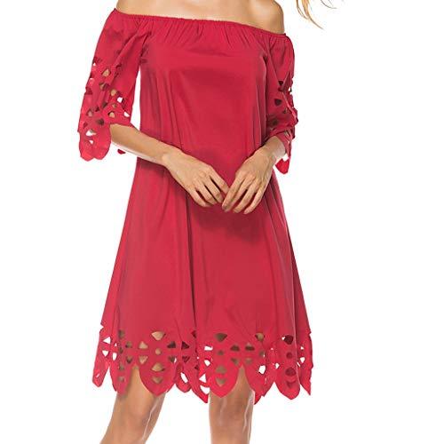 Hohles Damen-Kleid für Sommer, lässig, mit Naht am Schulterausschnitt Rot rot Medium