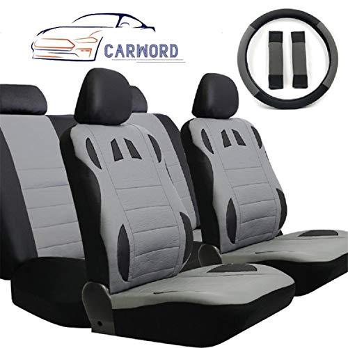 CARWORD Protectores de Asiento de Coche universales Juego Completo Compatible con airbag 100% Transpirable con función de Respaldo Dividido para automóviles - Trajes para Atletas, Mascotas y niños