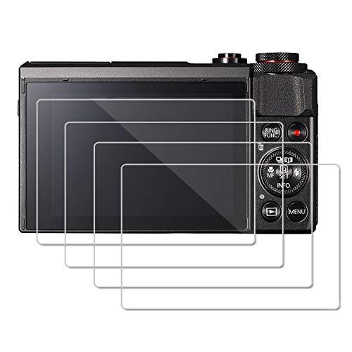 [Lot de 4] OOTSR Protecteur D'écran pour Canon G7X Mark II G9X G9XII G7X G5X Protecteur de Verre Trempé [Cristal Clair] [Résistant Aux Rayures]