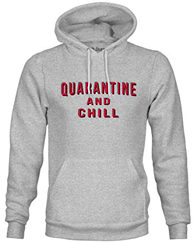 Ink Trendz Quarantine Virus 2020 Pullover Mid-Weight Hoodie Sweater (Small, Quarantine & Chill)