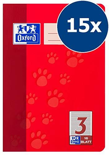 Oxford Schule Schulheft A5, liniert, Lineatur 3, 36 Blatt, rot, 15er Pack