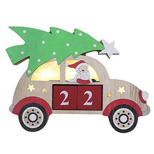 FAMOORE Adventskalender 2020 Kinder Weihnachten leuchtende Ornamente Kalender DIY kann kombiniert Werden (Green)