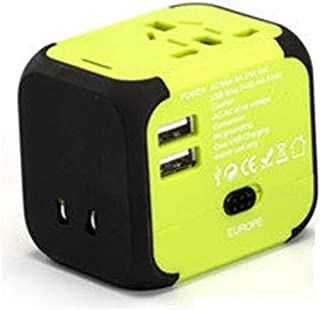 XIMINGJIA-O Power Plug Adapter - International Travel - 2 USB Ports in Over 150 Countries - 100-240 Volt Adapter - (1 Pack) Green International Converter, (Color : Green)