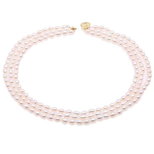 JYX Zarte dreireihigen 5–5,5 mm weiß oval Perle Halskette 43,2 cm