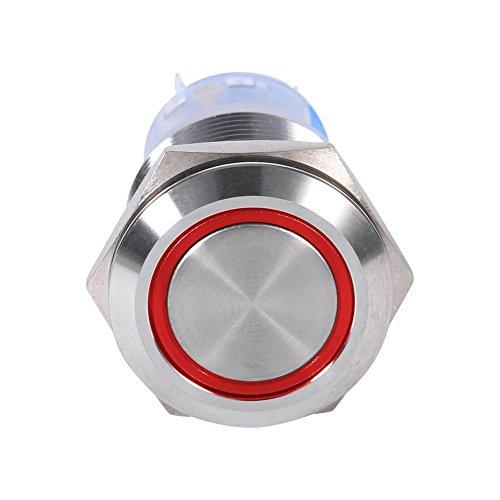 Qiilu 19mm 12V LED Interruptor de botón de enclavamiento autoblocante inoxidable resistente al agua(rojo)