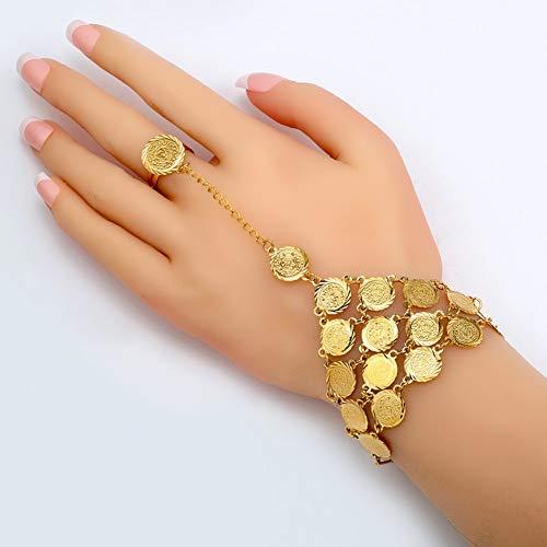 MHOOOA Münzen Armband Frauen Islam Muslim Arabischen Münze Geld Zeichen Gold Farbe Nahen Osten Schmuck Armreif Metall Münze