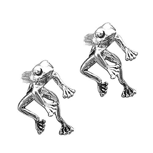 Pendientes de rana retro desmontables con diseño de animales y ranas, pendientes colgantes para orejas, pendientes de rana de la suerte para mujeres.