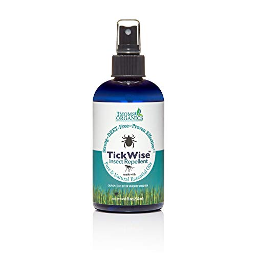 TickWise (8oz) 3 Moms Organics Tick and Insect Repellent, Made with All Natural Essential Oils, DEET-Free, Great for the Whole Family - Kids, Dogs and Horses Included
