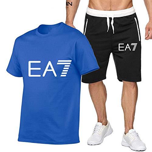 DREAMING-Primavera y verano, cuello redondo, deportes transpirables para hombres, manga corta, jogging, camiseta casual, top + traje corto XL