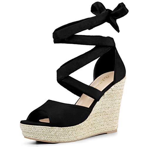 Allegra K Women's Lace Up Espadrilles Wedges Black Sandals - 7 M US