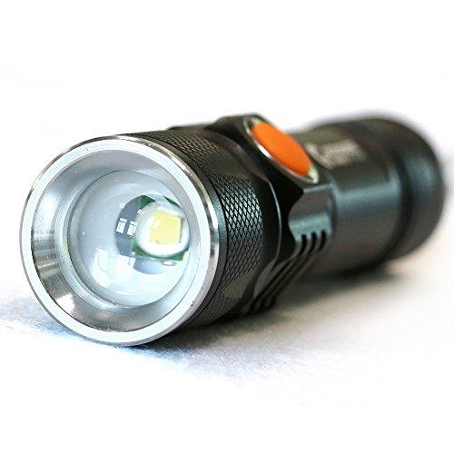 グッドグッズ(GOODGOODS) USB充電式 LED懐中電灯 小型 CREE XML-T6搭載 ハンディライト 強力 軍用 防水 ズーム機能付 3モード 停電 防災対策 ES-20U