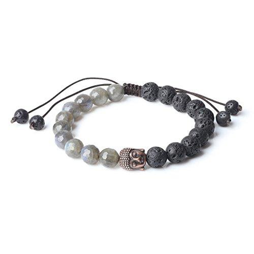 coai 8mm Mala Prayer Beads Labradorite Lava Buddha Bracelet