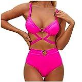 LHWY Bikini Mujer 2020 Push Up Cintura Alta Sexy de Playa Conjunto de Traje de Baño Sujetador + Braguita Set(Rosa S)