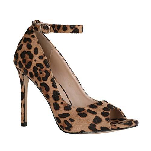 Ermonn Womens Leopard Stiletto Heels Peep Toe Ankle Strap Thin High Heeled Pumps D'Orsay Sandals