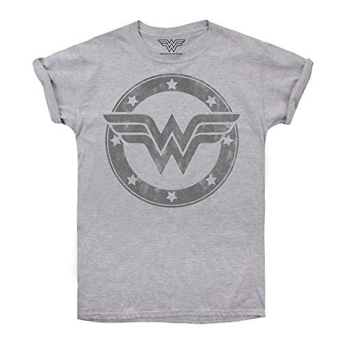 DC Comics Wonder Woman Metallic Logo Camiseta, Gris (Sport Grey SPO), 38 (Talla del Fabricante: Small) para Mujer