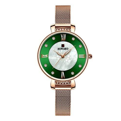 JISHIYU -Q Reloj de lujo de cristal para mujer, vestido de moda, relojes de cuarzo para mujer, correa de malla de acero inoxidable, reloj analógico femenino (color : verde RG)