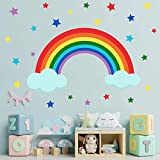 4 Sheets Colorful Rainbow and Clouds Stars Wall Decals, DILIBRA Peel and Stick Waterproof Removable DIY Art Wall Stickers for Kids Nursery Bedroom Living Room Wall Decor 41.3 x29.5inch
