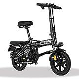 ZXQZ Bicicletas Eléctricas Plegables, Bicicletas Eléctricas de Cercanías para Adultos con Suspensión Total, Bicicleta Eléctrica de 14 Pulgadas con Regeneración de Energía, Cerradura Eléctrica