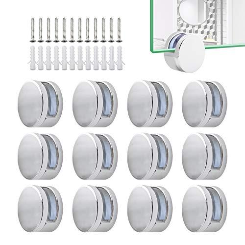 12 Stück Klemmbefestigung Spiegelclip Mehrzweckrunde Wandhalterung Inklusive Expansionsrohr und Schrauben (Stil 2)