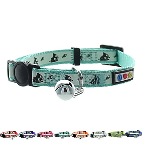 Pawtitas Glow in The Dark Cat Collar with Safety Buckle and...
