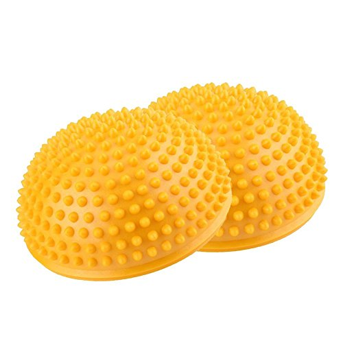 Dioche Fußmassage Ball, PVC Yoga Halbkugeln Massage Übungen Trainer Fitness Balance Ball(gelb)
