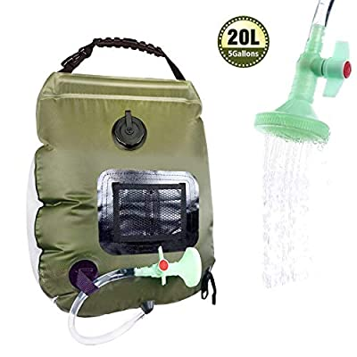 Solar Shower Bag 5 gallons/20L Solar Heating Camping Shower Bag with Removable Hose and On-Off Switchable Shower Head for Outdoor Traveling Camping Beach Swimming Outdoor Traveling Hiking