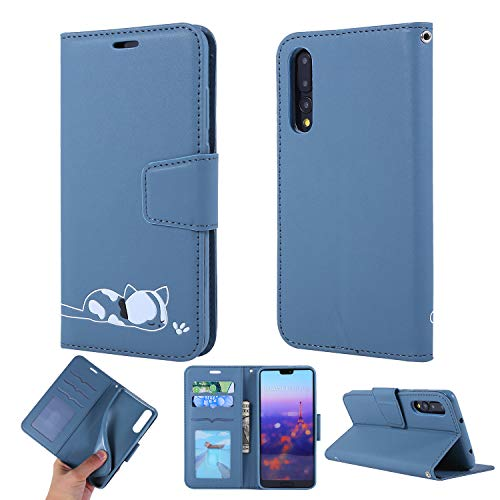Cute Wallet Case Huawei P20 PRO Solid Color Leather Flip Girls Phone Case Matte Ultra-Thin Bookstyle Kitty Cartoon Stand Card Slots Magnetic Skin Sleeve Housing Back Shell for Huawei P20 PRO,Blue