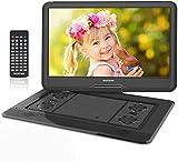 WONNIE 17.5' Tragbarer DVD-Player mit 15.6 Zoll Rotation Bildschirm 1366x768 HD, 5600mAh Akku 6 Stunden, Stereoton, Regionen Frei, USB/SD/AV Out & IN (Schwarz)