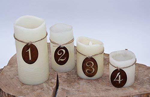 Rostikal | Edelrost Adventszahlen 1 - 4 für Kerzen und Adventskranz, rostige Weihnachtsdeko zum Hängen | 7 x 5 cm