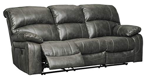 Signature Design by Ashley Dunwell Power Reclining Sofa with Adjustable Headrest Steel