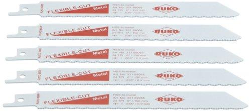 Ruko 33189065 Pack de 5 Sierras de Sable bimetal con vástago Universal 1/2', para Metal, 150 mm (equivalencia Bosch S 922 AF)