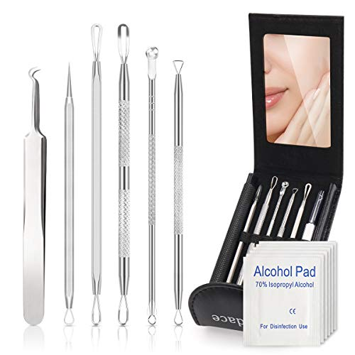 Pimple Popper Tool Kit,Blackhead Remover kit,christmas gifts Stocking Stuffers 6 PCS Ingrown Hair Removal Kit,White heads Removers,Pore Extraction Tool,Facial Skin Acne Zit Tools With A Leather Bag