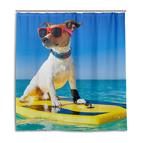 CPYang Duschvorhänge Strand, Surfen süß Hund, wasserdicht, schimmelresistent, Badevorhang, Badezimmer, Wohndeko, 168 x 182 cm, mit 12 Haken