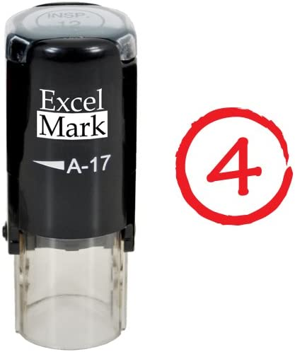 Grade Score 4 ExcelMark Self Inking Round Teacher Stamp Red Ink product image