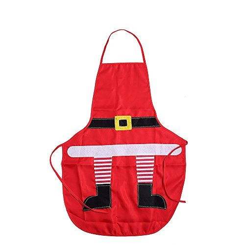 Uten Christmas Apron Christmas Santa Snowman Stylefor Christmas Dinner Party Cooking,Red