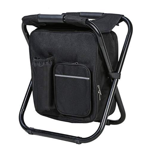 ch-AIR Tabouret Extérieur avec Sac Isotherme - Chaise De Camping Légère Et Portable, Facile À Ranger Tabouret De Petit-déjeuner - pour Le Bar À La Maison, L'alpinisme (Color : Black)