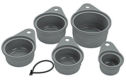Lurch 70261 Messbecher-Set (5tlg.) zum Abmessen von Zutaten in Cup-Maߟeinheiten aus 100% BPA-freiem Platin Silikon, Grau