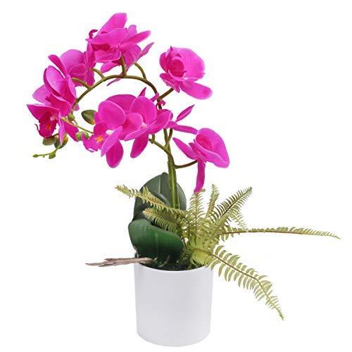 U'Artlines Orquídeas Artificiales en Maceta Flores con Jarrón Decoración para Hogar Dormitorio y Oficina (Morado)
