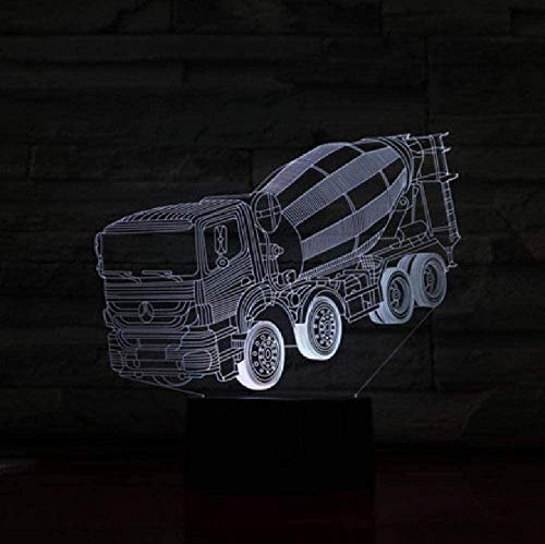 3D-Nachtlicht für Kinder mit Dekor-Lampe, Mixer, LKW, 3D-Stereo-Lampe, Schlafzimmer, LED-Atmosphäre, kreatives Nachttisch-Licht, USB-Nachtlicht für Kinder, Geburtstagsgeschenk für Kinder