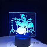 Instrumento musical Jazz Drum Set Color Desk Lámpara de mesa 3D Kids Toy Gift LED Night Light Decoration Lustre Holiday Gift Lava XW-Night Light953