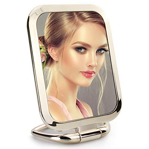 Espejo de mano con aumento de doble cara, espejo de maquillaje plegable de viaje, espejo cuadrado pequeño de pie para múltiples...