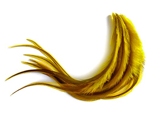 1 Dozen - Medium Yellow Badger Rooster Saddle Whiting Hair Extension Feathers Fly Fishing Supplier | Moonlight Feather