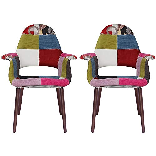 2xhome - Set of 2, Patchwork Patterned Mid Century Modern Upholstered Fabric Organic Accent Living Room Dining Chair Armchair Set with Back Armrest Dark Black Wood Wooden Legs for Kitchen Bedroom Ann