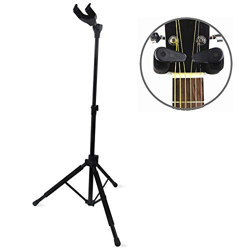 Auto Lock Tripod Bass Guitar Stand - MIMIDI Hanging Guitar Stand Adjustable, Fits Electric, Acoustic, Classical Guitars and Bass (GL-08 Black)