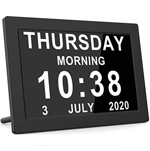 Digital Calendar Alarm Day Clock Large AM/PM Function, for Impaired Vision People, Age Seniors, The Dementia, for Desk, Wall Mounted- 7'' Black