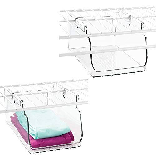 mDesign Plastic Hanging Closet Storage Organizer Tray - Small Bin for Bedroom, Linen, Entryway, Hall Closets - Holds Leggings, T-Shirts, Sports Bras, Winter Scarves, Belts, Gloves - 2 Pack - Clear