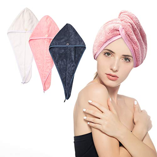 HAYHOI 3 Pack Hair Turban Towel Wrap - Large-Size (70cm*24cm) with Loop and Button Fastener, Absorbent Microfiber to Dry Hair Quickly for Women, Pink & White & Navy