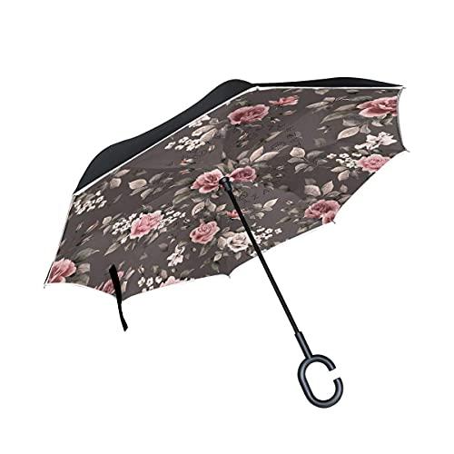 Paraguas plegables Flor Rosa Negra Paraguas Invertido Antiviento Protección contra Rayos UV Ligero Compacto Invertida Paraguas para Coche Viajes Playa Mujeres Niños Niñas