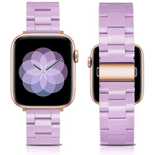 LINXUXIE Resin Band Compatible with Apple Watch Bands 42mm 44mm Series SE/6/5/4/3/2/1 Women Men,Waterproof Replacement Strap With Stainless Steel Buckle For iWatch (Lavender Purple, 42/44mm)